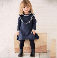 Wholesale 2t Sweater Dress - INS styles new Girl kids autumn winter long sleeve o-neck Pleated lace girls fashion sweater elegant high quality cotton dress