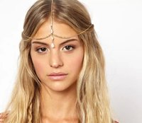 Wholesale alloy chain hair band online - 2017 Bohemia Simple tassel hair band bride wedding jewelry triangle Opal Shells headbands chain For women Fashion hair Accessories