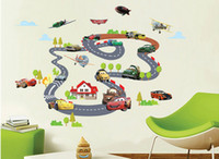 Wholesale Race Room - Car on Rail Racing Wall Art Decal Sticker Kids Room Nursery Mural Wall Decoration Poster Sky Airplane House Wall Tree Art Graphic Sticke