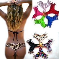 Wholesale Heart Shaped Swimwear - PrettyBaby Summer Style Thong Swimsuit Women Heart Shape Bathing Suit Sexy Brazilian Swimwear strappy bikini bottoms swimwear 9 colors
