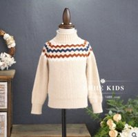 Wholesale Rabbit Jumper Children - Children knited wave sweater girls boys rabbit fur turtleneck knit pullover Winter kids long sleeve warmer bottomings sweater R1598