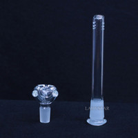 Wholesale Glass Bowl Sets - 2pcs set glass downstem glass water pipes Joint 18.8mm glass bowl female bowl for tobacco glss bong male bong accessories free shipping L48