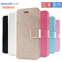 Wholesale Iphone Cheap Leather Case - Cheap High Quality View PU Leather Case for iphone 6s iphone 6 plus Phone Case Stand Holder Silk Pattern Cover Case