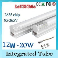 Wholesale Energy Saving Fluorescent T5 - T5 LED Fluorescent Tube Replacement Integrated Tube AC 85-265V SMD 2835 1200mm 4fts 12W LED Lamps for Home Energy Saving LED Tube Lights