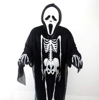 Wholesale Ghost Dresses - 10pcs Performance Costume Human Skeleton Mantle Fancy Dress for Halloween Days Ghost Cloak