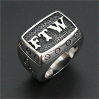 Wholesale mens celtic wedding bands - 2pcs Newest Design FTW Cool Ring 16L Stainless Steel Biker Style Mens Hot Selling Christmas FTW Ring