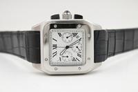 Wholesale Mens Silver Xl Watch - new Luxury quartz chrono 100 XL black leather band mens watches sport watch sapphire quality big dial CHRONO WATCHES