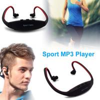 mikro sd kartlı kulaklıklar toptan satış-Sıcak Satış Spor MP3 Çalar Kablosuz Kulaklık Kulaklık Müzik Çalar Destek Micro SD / TF Kart