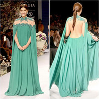 Wholesale Long Abendkleider - New Arrival Green Chiffon Lace Dubai Kaftan Long Evening Dress with Cape Abaya Formal Gown Special Occasion abendkleider robe de soiree d020
