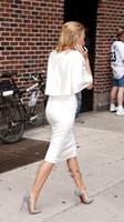 Wholesale Serena White Dress - 2015 Hot White Chiffon Sheath Gossip Girl Serena Blake Lively Street Style Evening Dresses Half Sleeve Knee-length Short Prom Gowns