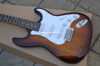 Wholesale Guitar Top Wood - ST-High Quality Newest Natural maple top Rosewood fingerboard Ash wood ST Electric Guitar 412