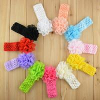 Wholesale Dress Baby Promotion - Promotion 30pcs lot Chiffon Lace Flower Crochet Headband Baby Girls Dress Up Head band 11 color