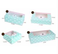 caixas de bolinhas janela venda por atacado-Bolinho de papel de luz Verde caixa de Embalagem de bolo com janela de pvc de plástico para Biscoito De Doces de Chocolate Caixa de papelão caixa de presente de papelão