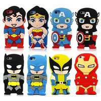 Wholesale Iphone 4s 3d Batman Cases - iPhone 6S Case 3D Cartoon Ironman Captain America Spiderman Batman Superhero Silicone Cover for iPhone 4S 5S 6 6S Plus Samsung S5 S4