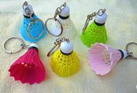 Wholesale Badminton Jewelry - 60PCS Creative Badminton Keychain Beautiful Bags Pendant Emulation Plastic Badminton Key Chain Novelty Gifts Mixed Colors fashion jewelry