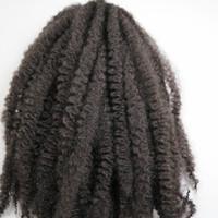 trenzas rizadas afro kanekalon al por mayor-Afro Kinky Marley trenzas trenzado sintético cabello 20 pulgadas # 2 / marrón más oscuro 100% Kanekalon trenzas de ganchillo sintético trenzas extensiones de cabello