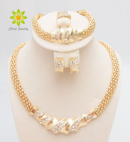 Wholesale Costume Jewlery Necklace Sets - Free Shipping African Gold Plated Charming Fashion Romantic Bridal Fashion Necklace Crystal Vintage Women Costume Jewlery Sets