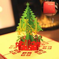 Wholesale 3d Souvenir - Merry Christmas Tree Vintage 3D laser cut pop up paper handmade custom Creative greeting cards Christmas gifts souvenirs postcards Wholesale