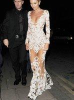 nakış dantel gece elbisesi uzun kol toptan satış-Uzun Kollu Dantel Aplikler Abiye giyim Nakış Ünlü Elbiseleri Abiye giyim Gelinlik Modelleri 2016 See Through