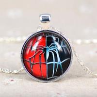 Wholesale Spider Lucite - NewAnime Children Pendant Necklaces Christmas Gift Fashion Movies & TV Spider Galaxy Glass Sliver Chain Statement Necklaces Pendants