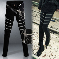 Wholesale Skinny Jeans Korean Style - 2015 Korean New Designer Black Skinny Jeans Men Denim Pants Slim Rock Punk Jeans With Chain