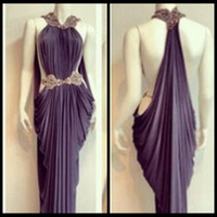 Wholesale Unique Modern - Unique New Spandex Sheath Michael Costello Evening Dresses Vestidos with High Collar Beaded Pickup Prom Party or Graduation Dresses