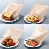 Wholesale Sandwiches Bags - 17*19cm Teflon Cooking Bag Toaster Bag Microwave Oven Bag Not Sticky Toast Poke Toaster Bags Make A Perfect Toasted Sandwich By DHL