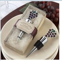 Wholesale Grape Wine Stoppers - 100PCS LOT 2014 New Vineyard Grapes Wine Stopper+ wedding party favors gifts+Free shipping