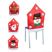 ingrosso mobili di qualità-50 * 65cm Babbo Natale Hat Chair Covers Alta qualità Natale cervi pupazzo di neve set di decorazioni di Natale Decorazione di mobili di Natale