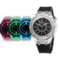 Wholesale Led Light Up Pins - Hot sales Geneva Diamond Stone Crystal Watch Silicone Led light Flashing Up Jelly Watch lot 50pcs Free Shipping Via DHL FEDEX EPACKET