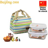 Wholesale Insulated Case - Thermal Insulated Portable Cool Canvas Stripe Lunch Totes Bag Carry Case Picnic Bag 010232