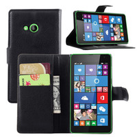 Wholesale Covers Bags For Microsoft - 100PCS,2015 New Luxury Litchi Lichee Texture Wallet Leather Flip Case Stand Cover For Microsoft Lumia 535 Mobile Phone Case Bag