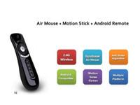 usb stick android tv box оптовых-Гироскоп Mini Fly Air Mouse T2 2.4 G беспроводная клавиатура Android пульт дистанционного управления 3D Sense Motion Stick для Smart TV BOX