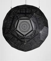 siyah çelik lamba toptan satış-Ücretsiz kargo Dia 35/47/57 cm Yeni Modern Tom Dixon yumruk topu Asitli kolye ışıkları, paslanmaz çelik Gümüş / Siyah / Altın renk kolye lambaları