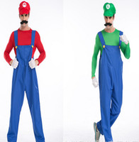 Wholesale Men Party Themes - Adult mario costume suit Cosplay Theme Costume Apparel Plumbers overalls cap mask party Halloween clothing props T-shirt pants
