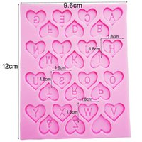 Wholesale Fondant 12 - DIY Cake Decorating Loving Heart Letter Lace Shaped Fondant Silicone Cake Molding Sugar Art Tools, 9.6*12*0.6CM