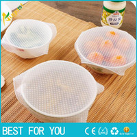Wholesale Fresh Wrap - 5pcs lot Silicone Bowl Food Storage Wraps Cover Seal Fresh Keeping Kitchen Tools Bags Pouch Cover Home Storage