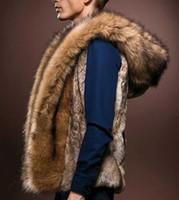 erkek kürk yelek toptan satış-Toptan-2017 Yeni Moda Kış Erkekler Erkekler Kürk Yelek Hoodie Kapşonlu Kalın Kürk Sıcak Yelekler Kolsuz Ceket Giyim Erkek Ceketler