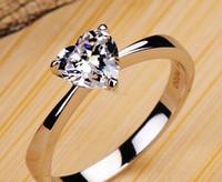 Wholesale Moissanite Diamond Rings - US GIA certificate 1 ct moissanite engagement rings for women 18K white gold moissanite heart shape gemstone rings for women