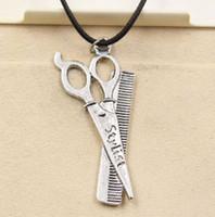 Wholesale Scissor Comb Jewelry - NEW HOT 20pcs lot Vintage Silver scissor comb Black Choker Chain Necklaces Pendants Jewelry