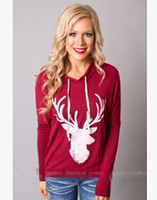 Wholesale Hooded Sweater Shirt - Women's New Style Long Sleeved T-shirt Deer Printed Womens Hooded sweater Auntumn Spring And Winter