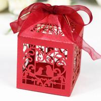 60pcs / lot Mini Paper Candy Box Oiseaux Heart Design Wedding Party Sweetmeat Emballage en chocolat Sac Sweet Gift Holder wc148