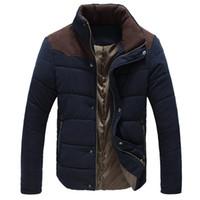 chaqueta térmica delgada al por mayor-2016 Nueva chaqueta de los hombres de invierno Slim Fit Casual Coat Cálido chaqueta térmica acolchada Abrigo de algodón acolchado para hombres 5 Color Plus Tamaño: M-5XL