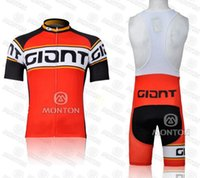 Wholesale Cycling Jersey Set Giant - Giant Racing Team Cycling Jersey Sets Mens Red Blue Cycling Clothing Anti Wrinkle Bike Wear Shorts Short Sleeve Colorfast 100% Polyester