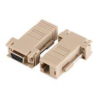 adaptador rj45 db9 al por mayor-Venta al por mayor 100 unids / lote DB9 Hembra a RJ45 Femenina F / F RS232 Adaptador Modular Conector Convertidor Extender