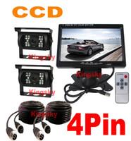 "Wholesale Car Monitor Cables - 2 x 24V IR Waterproof CCD Reverse parking Camera 4Pin + 7"" LCD Monitor Car Caravan Rear View Kit Free 2x 10m video cable"
