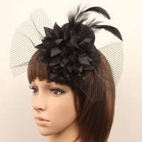 Wholesale Organza Wedding Hats - 2015 Bridal Hair Jewelry Women Girl Lady Black Party Cocktail Prom Bridal Wedding Feather Fascinator Mini Hat Headwear 18055
