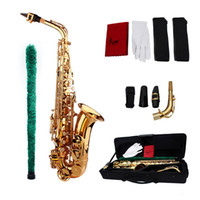 Wholesale Clean Sax - Wholesale-High Quality Saxophone Sax Eb Be Alto E Flat Brass Carved Pattern Plastic Mouthpiece with Gloves Cleaning Cloth Brush Straps