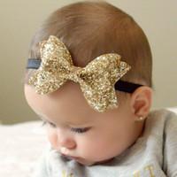Wholesale Glitter Clips - Baby Girl Hair ornaments Dovetail Glitter Bow Headbands Hair Clips Girl Fashion Headwear Baby Accessories E1121