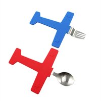 Wholesale R C Models - Children Tableware Set Cartoon Aircraft Model Silicone Fork Spoon Dishware Suit Portable Gift For Kid Red And Blue 19 98tt C R
